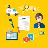 Reportero de las noticias de la prensa del periodismo Sistema de iconos del periodismo del vector i Fotos de archivo libres de regalías