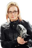 Reportero de sexo femenino Fotografía de archivo libre de regalías