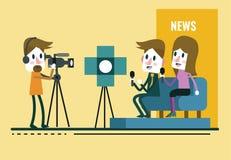 Reportero Interview, con el periodista y el entrevistador en estudio libre illustration