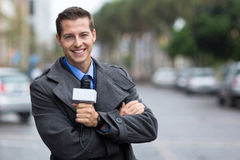 Reportero profesional de las noticias imagenes de archivo