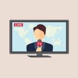 Reportero profesional de las noticias en la difusión viva Foto de archivo