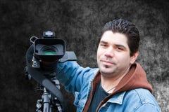 Reportero video Imagenes de archivo