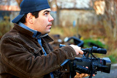 Reportero video Fotografía de archivo libre de regalías