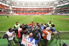 Reporters attack Yegor Titov after farewell match Stock Photos