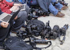 Reporters and equipment Royalty Free Stock Photos