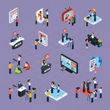 Reporters Isometric Icons Set Royalty Free Stock Images