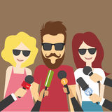 Reporters in live breaking Royalty Free Stock Images