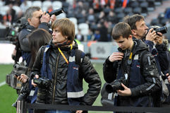 Reporters before the match Stock Photography