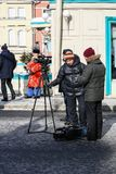 Reporters, photographers and bloggers working at a march. Moscow, the Russian Federation - February 25, 2018: Opposition march in memory of the politician Boris Stock Photos