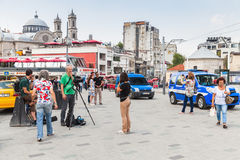 Reporters from Rai News 24 work on Taksim square Stock Photo