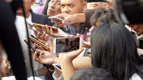 Reporters recording answer from Sandiaga Uno Royalty Free Stock Image