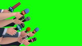 Reportery przeprowadzają wywiad z mikrofonami na zieleń ekranie, boczny widok, looping, 3D ilustracja wektor