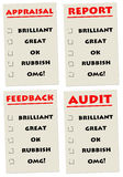Reporting. Appraisal, feedback or audit report with different scores Stock Photo