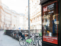 Reporting handover ceremony presidential inauguration of  Emmanu. STRASBOURG, FRANCE - MAY 15, 2017: French city press kiosk with Paris Match magazine Emmanuel Stock Images