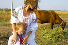 Reporting picture of the Ukrainian family. In village Royalty Free Stock Image