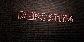 REPORTING -Realistic Neon Sign on Brick Wall background - 3D rendered royalty free stock image. Can be used for online banner ads and direct mailers Royalty Free Stock Images