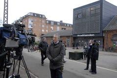 REPORTING TERRO IN COPENHAGEN Royalty Free Stock Photos