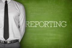 Reporting text on blackboard stock image