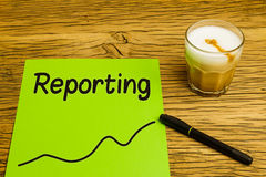 Reporting text graph green paper Stock Photos