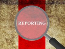 Reporting. In white block letters on red band on gold parchment under magnifying glass Royalty Free Stock Photo