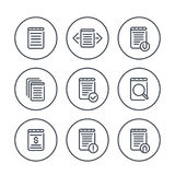 Reports, account, records, finance documents icons Royalty Free Stock Image