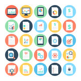 Reports and Analytics Colored Vector Icons 3 Stock Images