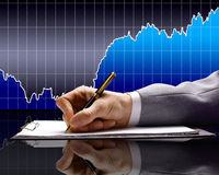 Reports of Finance for the month. Stock Photos