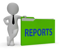 Reports Folder Shows Arranging Files And Data 3d Rendering. Reports Folder Representing Administration File And Arranging 3d Rendering Royalty Free Stock Image