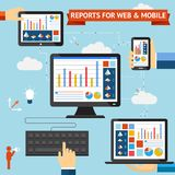 Reports for web and mobile. Vector set with colorful displays of graphs  charts and statistics displayed on the screens of a desktop  laptop  mobile phone and Royalty Free Stock Photography