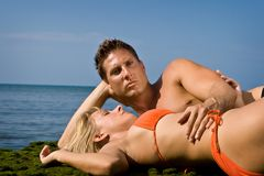 Repos à la plage Images stock