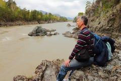 Repos à la rivière Images libres de droits