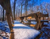 Repos après la hausse dans la forêt de neige Images stock