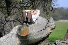 Repos d'homme sur le vieil arbre Images libres de droits