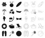Repos d'?t? noir, ic?nes d'ensemble dans la collection r?gl?e pour la conception Illustration accessoire de Web d'actions de symb illustration stock