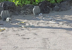 Repos dans des squelettes de la DÉCHIRURE deux de paix enterrés en sable Photo stock