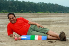 Repos indien de joueur de cricket Photos stock
