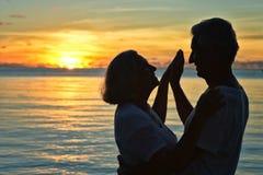 Repos plus âgé de couples à la plage tropicale Image libre de droits