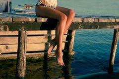 Repos sur le dock Photo stock