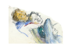 Reposal (at home). Hand drawing picture - three reposal figures Stock Images
