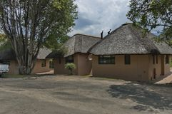 Repose house with thatch roof in KwaZulu-Natal nature reserve Stock Image
