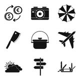 Repose icons set, simple style. Repose icons set. Simple set of 9 repose vector icons for web isolated on white background Stock Photos