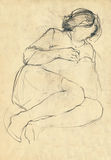 Repose woman. Sketch of repose woman without face, pencil drawing Royalty Free Stock Photos