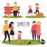 Reposez-vous en parc à l'heure d'été Vecteur plat illustration libre de droits