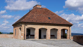 Repository house at Spilberk Castle in Brno. Repostiry house at Spilberk Castle in Brno with background blue sky and overview panorama of Brno stock photos