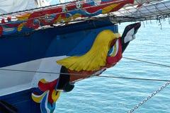 Repräsentationsfigur auf dem Segeln des hölzernen Schiffs Stockfotografie