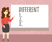 Représentation conceptuelle d'écriture de main différente Texte de photo d'affaires pas les mêmes que des autres ou différent en  illustration libre de droits