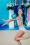 Représentation d'Averina Arina avec la boule Photo stock