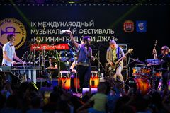 Représentation de balai de balai de festival de jazz internationalement Photos libres de droits