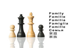 Représentation de la famille avec des pièces d'échecs et le mot Photos stock