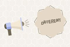 Représentation de signe des textes différente Photo conceptuelle pas les mêmes que des autres ou différent dans le mégaphone de f illustration libre de droits